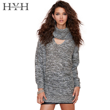 цена на HYH HAOYIHUI Fashion Women Sweater Solid Gray High Collar Long Sleeve Cut Out Pullovers Streetwear Casual Slim Knitted Sweater
