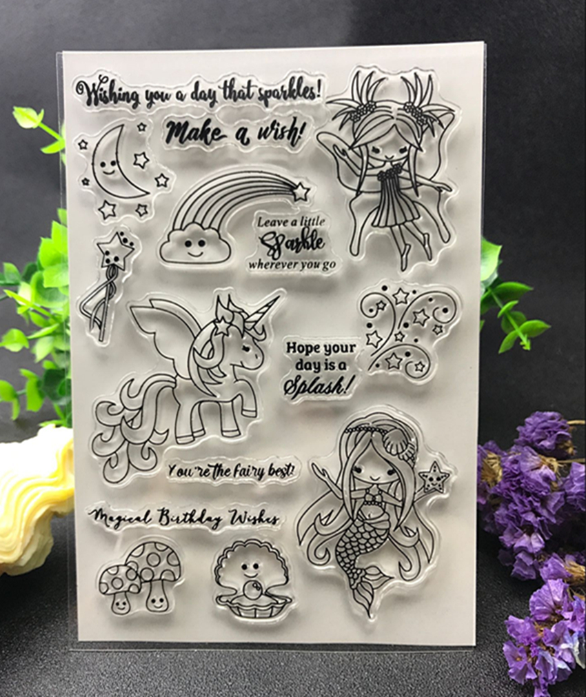 Mermaid/unicorn  Transparent Clear Silicone Stamp/Seal for DIY scrapbooking/photo album Decorative clear stamp sheets