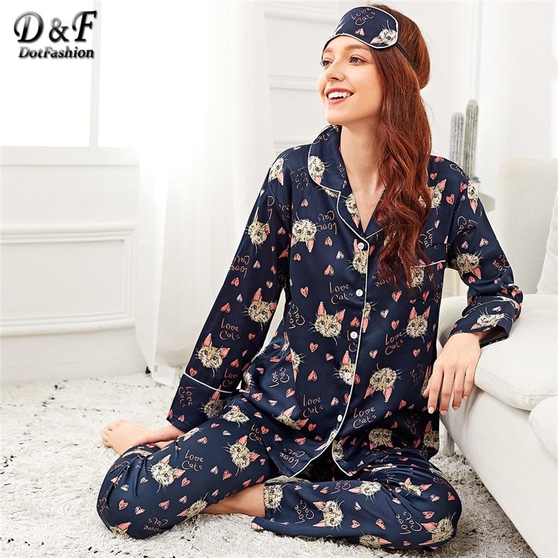 Dotfashion Navy Allover Cat Print Pajama Set With Eye Mask Women 2019 Autumn Clothing Casual Nightwear Long Sleeve Pajama Sets