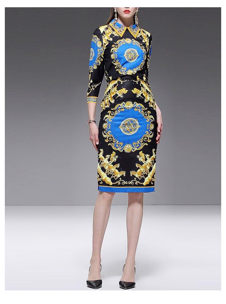 Baogarret Spring Summer Designer Vintage Skirt Suit Women 39 s Beading Print Blouse Split Skirts Female Elegant Two Piece Set in Women 39 s Sets from Women 39 s Clothing