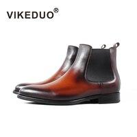 VIKEDUO брендовые Зимние ботильоны для мужчин кашемир классический из натуральной коровьей кожи ботинки челси мужской ручной работы свадебны