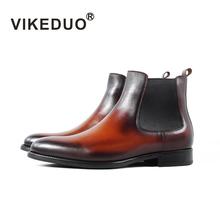VIKEDUO Brand Winter Ankle Boots Men Cashmere Classic Genuine Cow Leather Chelsea Boot Male Handmade Wedding Office Botas Hombre
