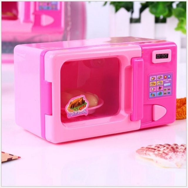 Kid Mini Cute Pink Microwave Oven Pretend Role Play Toy Educational For Children Playing Kitchen