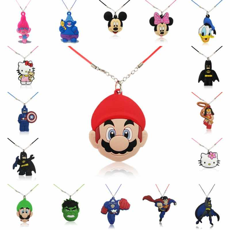 1PCS Avenger Trolls Hero Cartoon Figure PVC Pendant Necklaces Rope Chain Chokers Necklace Kids Gifts Party Favors Jewelry