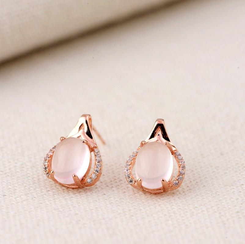 Poudre cristal oreille clou S925 sterling argent inlay furong pierre argent en gros de femmes simple cadeau de mode de mariage de demoiselle d'honneur