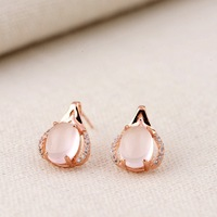 Powder crystal ear nail S925 sterling silver inlay furong stone silver wholesale women's simple gift fashion wedding bridesmaid