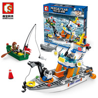 Coast Guard Rescue Boat Shark Fisher Doll Truck Car Motorcycle Building Blocks Model Plastic Assembled DIY Toys Brick Kids Gifts