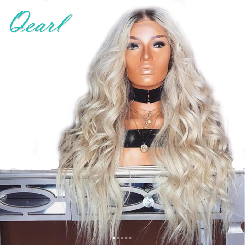 Qearl Hair 150% Density Full Lace Human Hair Wigs Ombre 1B/613 Two Tone Dark Roots Loose Wave Full Lace Wigs With Baby Hair ...