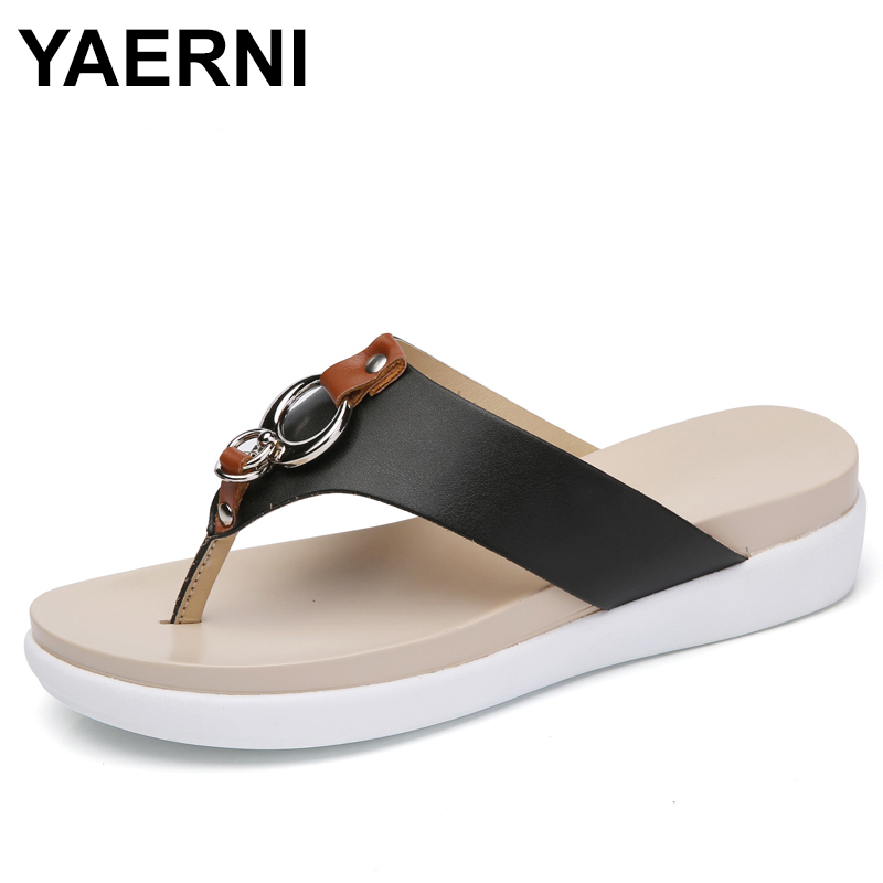 YAERNI 2018 Women wedge Shoes Slip on Leather platform sandals Ladies heel slides female Slipper sandals summer shoes leisure women shoes wedge high heel slope sandals open toe summer slip on party sandals waterproof platform slipper