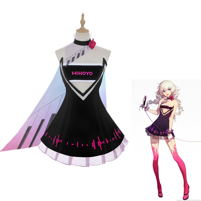 COSREA Game Honkai Impact 3  Kiana Kaslana Cosplay Costumes Birthday Suit Singing Girl Synthetic Wigs Hair Women Girl Clothing