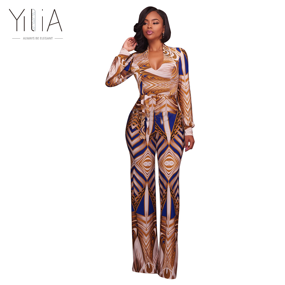 37949041c89 Yilia New Jumpsuit Women Long Sleeve Fashion African Print Deep V Neck Wrap  Bow Sexy Plus Size 3XL Rompers Womens Jumpsuit Pants-in Jumpsuits from  Women s ...