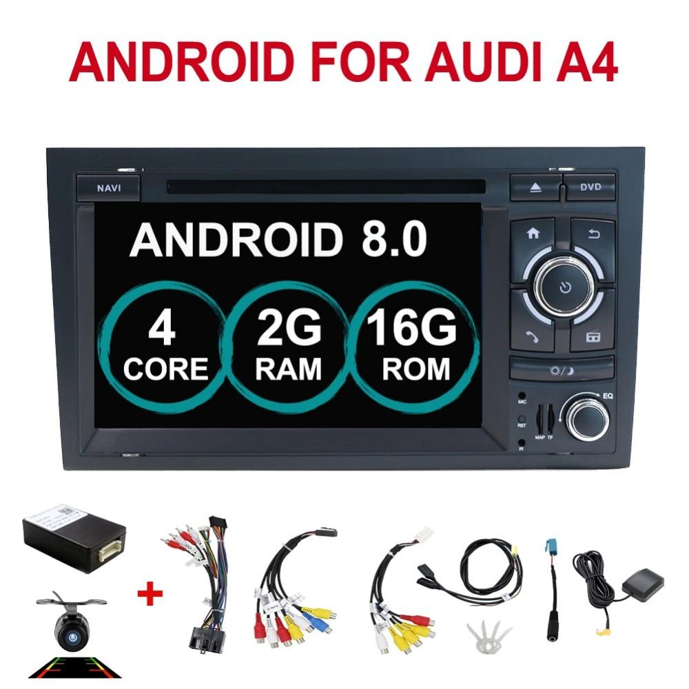 2din android 8.0 Carro DVD GPS Navi para Audi A4 GPS 2003-2008 Audi S4/RS4/8E /8F/B9/B7 Com GPS Wifi Bluetooth Radio RDS Canbus Mapa