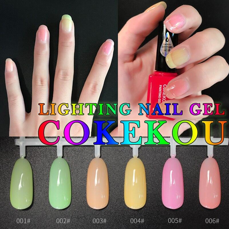 CoKEKOU 6ml Fluorescent Neon Luminous Nail Polish 6 Candy Color LED ...