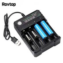 Rovtop 18650 Battery Charger Black 2 Slots AC 110V 220V Dual For 18650 Charging 3.7V Rechargeable Lithium Battery