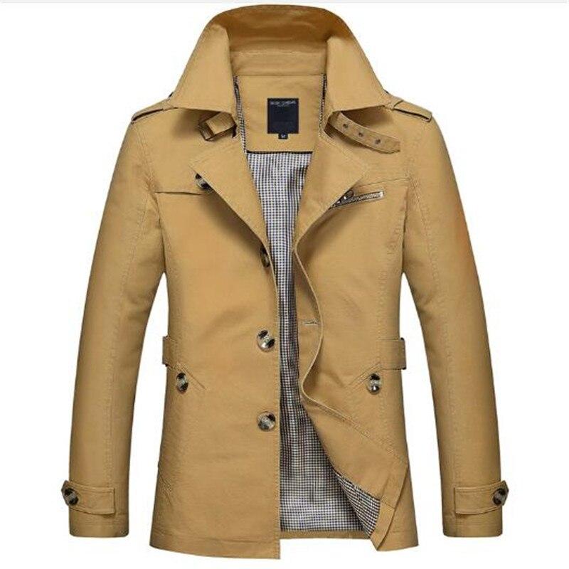 Coréenne Pardessus Kaki Noir Plus La taille XXXL XXXXL 5XL style britannique Slim fit trench manteau long hommes Nouveau Printemps 2017 homme Coupe-Vent