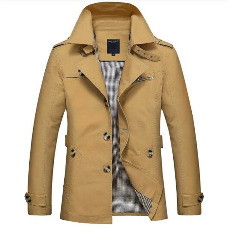 Korean Overcoat Khaki Black PLus size XXXL XXXXL 5XL british style Slim fit   trench   coat long men New Spring 2017 man Windbreaker