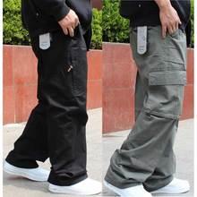 ビッグサイズのカーゴパンツの男性ヒップホップハーレムズボンカジュアルルーズバギーワイド脚ポケットパンツ男性服
