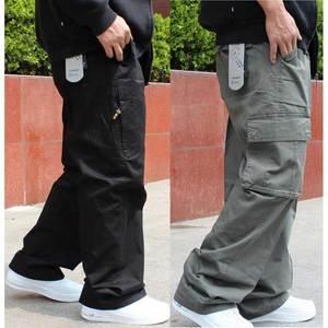 Image 1 - Брюки карго большого размера, мужские шаровары в стиле хип хоп, повседневные свободные мешковатые широкие брюки с карманами, мужская одежда