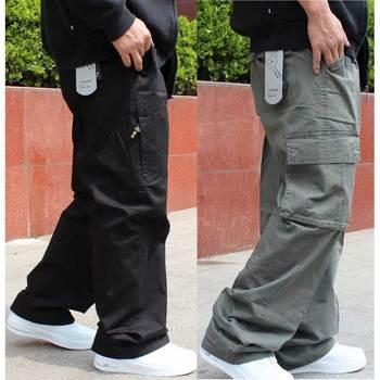 Duże rozmiary Cargo spodnie męskie Hip Hop spodnie haremowe Casual luźna workowata szerokie nogawki spodnie z kieszeniami odzież męska tanie i dobre opinie Pełnej długości Cargo pants Na co dzień Luźne Poliester COTTON Wysoka Midweight Plisowana Suknem Zipper fly TH 3in1 d00 CB b5600