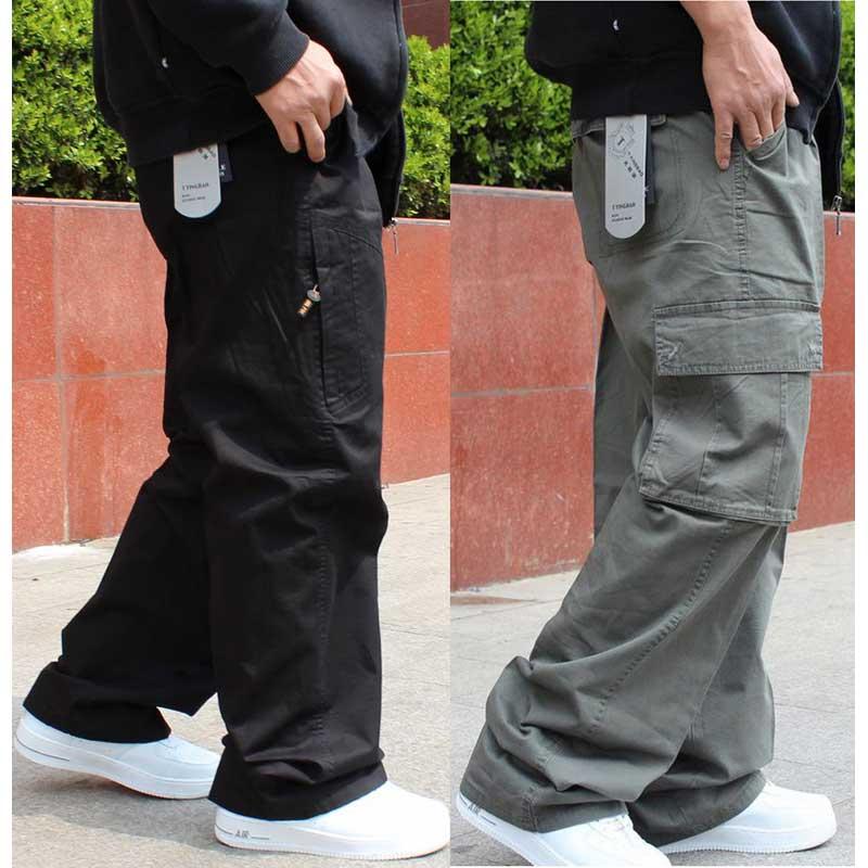 Grande Taille Pantalon Cargo Hommes Hip Hop Harem Pantalon Décontracté Ample Poches Pantalon