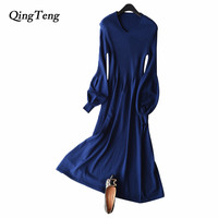 QingTeng Dress Women Warm Autumn Winter Lantern Sleeves Retro Wool Elegant Slim V-neck Winter Dresses For Women 2018 Knitted