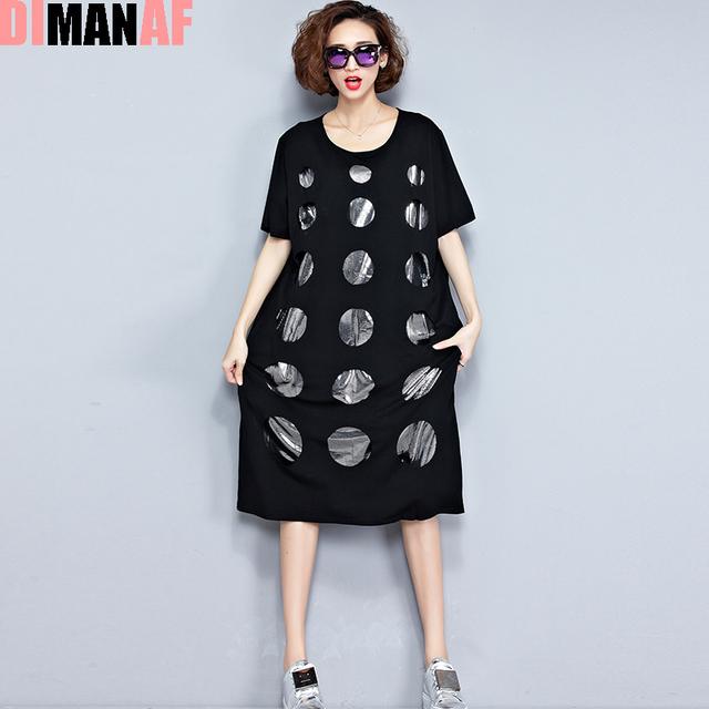 Plus Size Women Dress Summer Polka Dot Hole Print Tee Dress Female Big Size Loose Cotton T-Shirt Fashion O-Neck Black New Dress