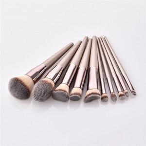 Image 4 - 10 makyaj fırçası seti profesyonel vakfı pudra göz farı karıştırma kaş kabuki kozmetik fırça aracı