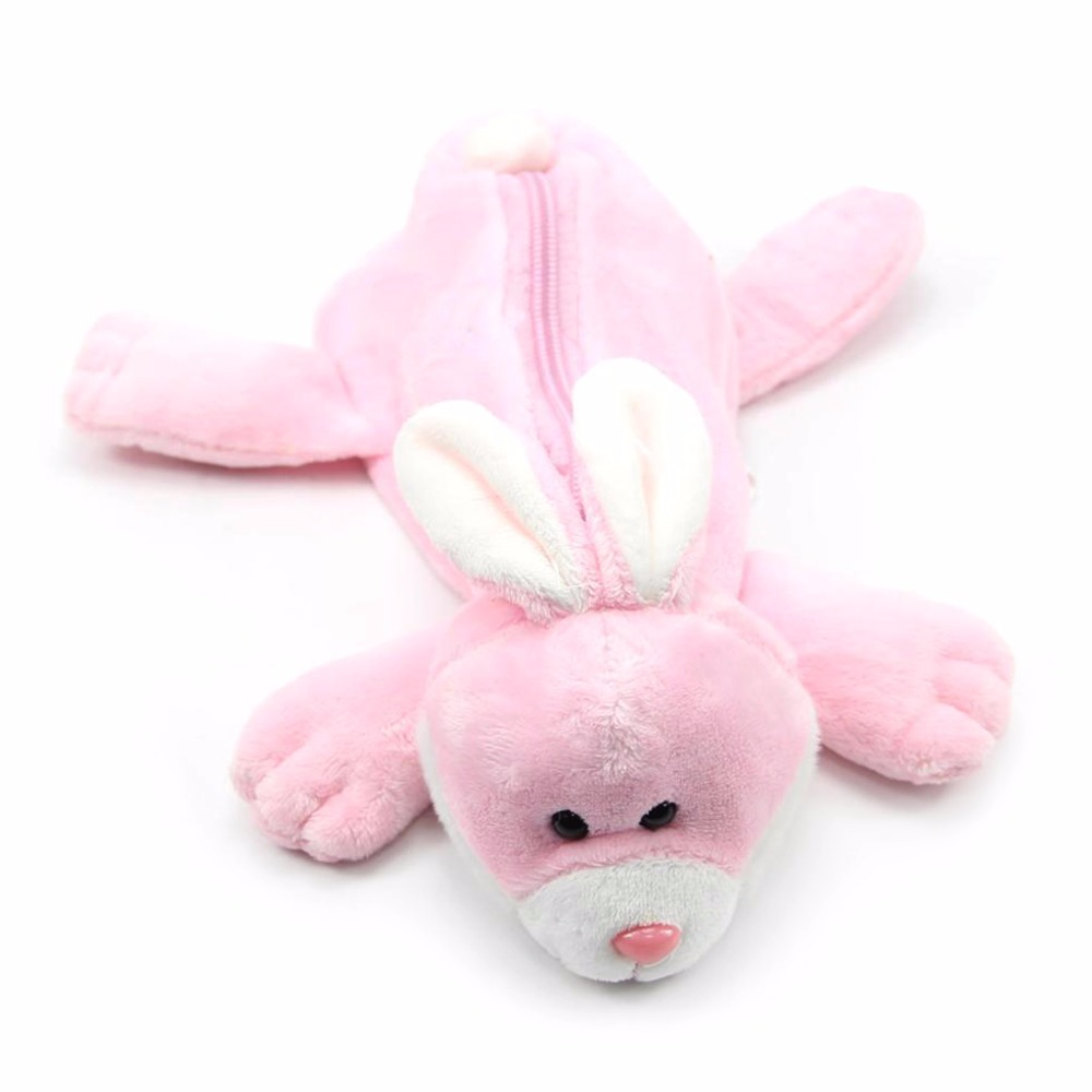 Lovely Plush Cartoon Fluffy Animal Fog Rabbit Bear Pen Pencil Makeup Case Bag Zipper Coin Pouch Purse C26