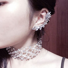 Fashion 1PC Exquisite Vintage Punk Gothic Crystal Rhinestones Ear Clip Cuff Wrap  Earrings Graceful Allergy Free
