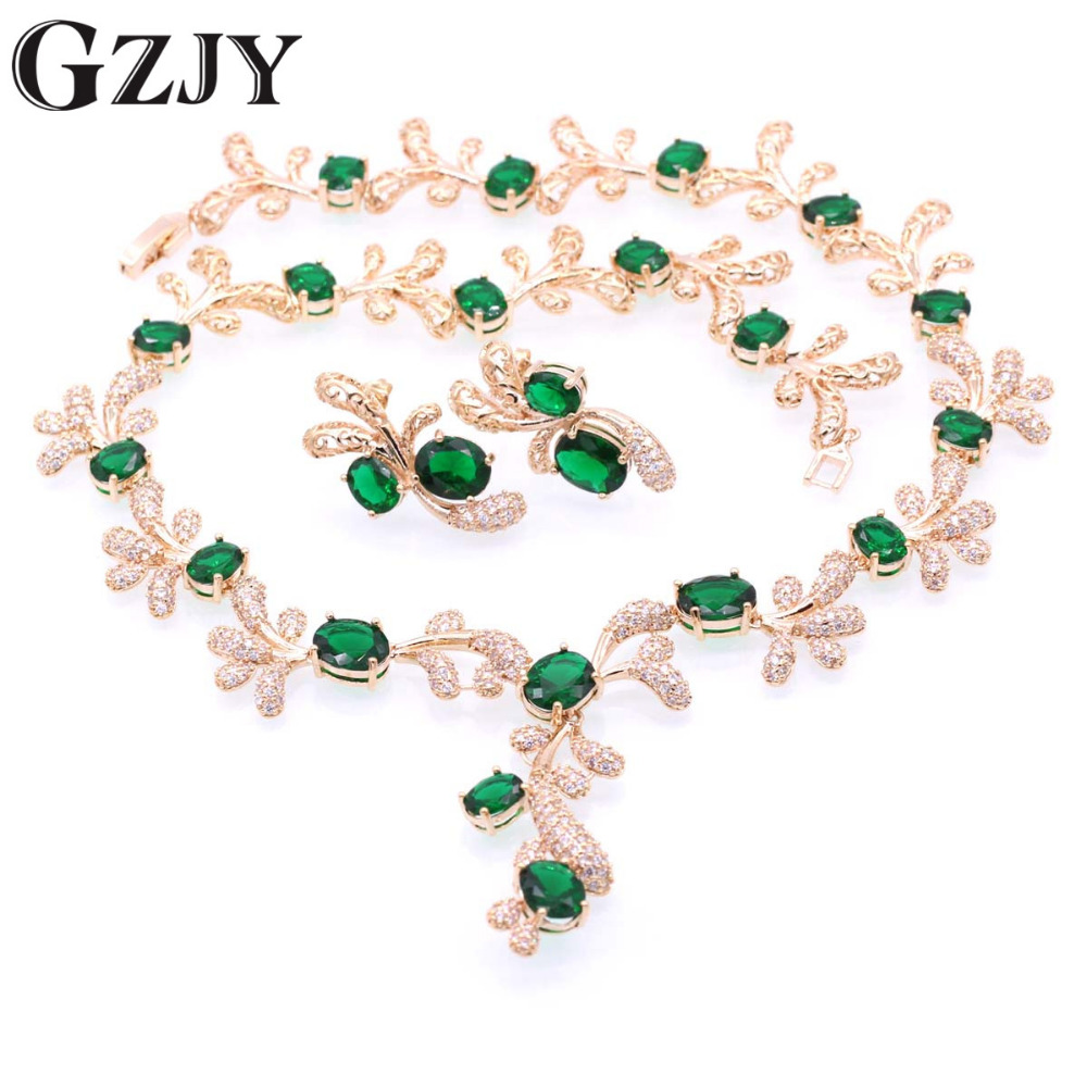 GZJY Beautiful Champagne Gold Color Crystal AAA Zircon Neckls
