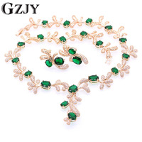GZJY Beautiful Champagne Gold Color Crystal AAA Zircon Necklace Earring Jewelry Set For Women Fashion Wedding Jewelry 5color