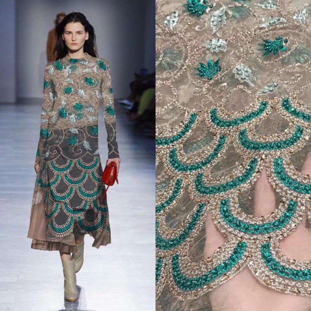 Tissu dentelle française 5yds/pce dhl vert perlé tube fil d'or tissus femmes magnifique luxe fête événement robe 2019 haute qualité