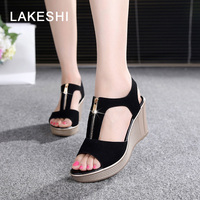 Women Sandals Casual Women Shoes Platform Summer Wedges Sandlas Peep Toe Ladies Shoes Black Size 35