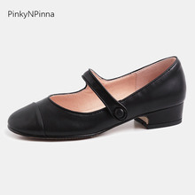 Top grain genuine leather women black Mary Jane shoes round toe preppy style young girls chunk low heels casual school shoes creativesugar see through lace mary jane vintage style med low heels bridal wedding party prom black white ivory pink shoes