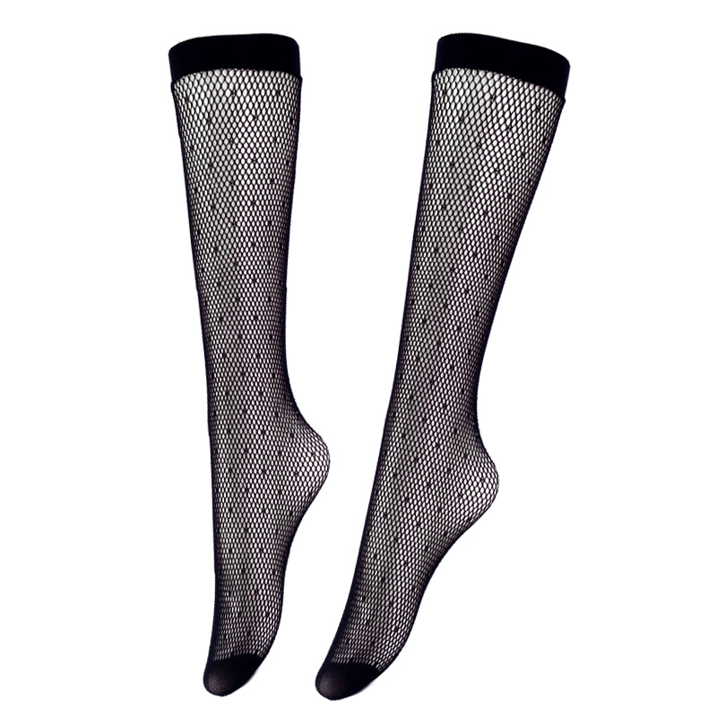 Polka Dot Stockings Women Summer Fashion Ladies Lace Long Socks High Knee Sexy Dress Black Fishnet Stockings Female