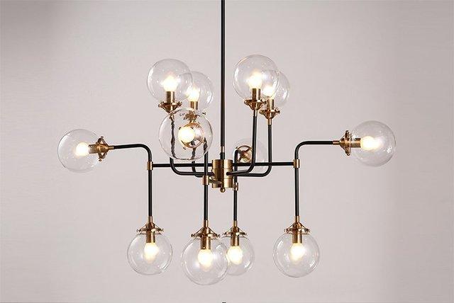 Moderno paralume in vetro luce lampadario e lampadina led