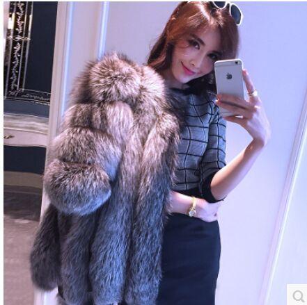 2015 осень зима пальто теплый новый чернобурки шуба верхняя одежда женщин мода шуба Большой размер S-4XL