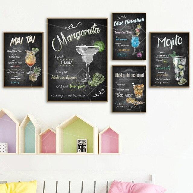 Abstrait dessiné à la main coloré Cocktails boissons toile Art affiches et impressions Pub Bar décoration mur photo peinture sans cadre