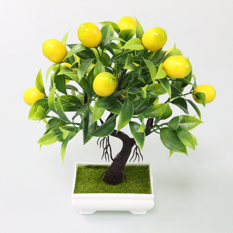 Flone Bonsai Artificial Plants Fake Tree Yellow Foam Fruit Tree Plastic Plants Mini Potted For Party Home Decoration Accessories