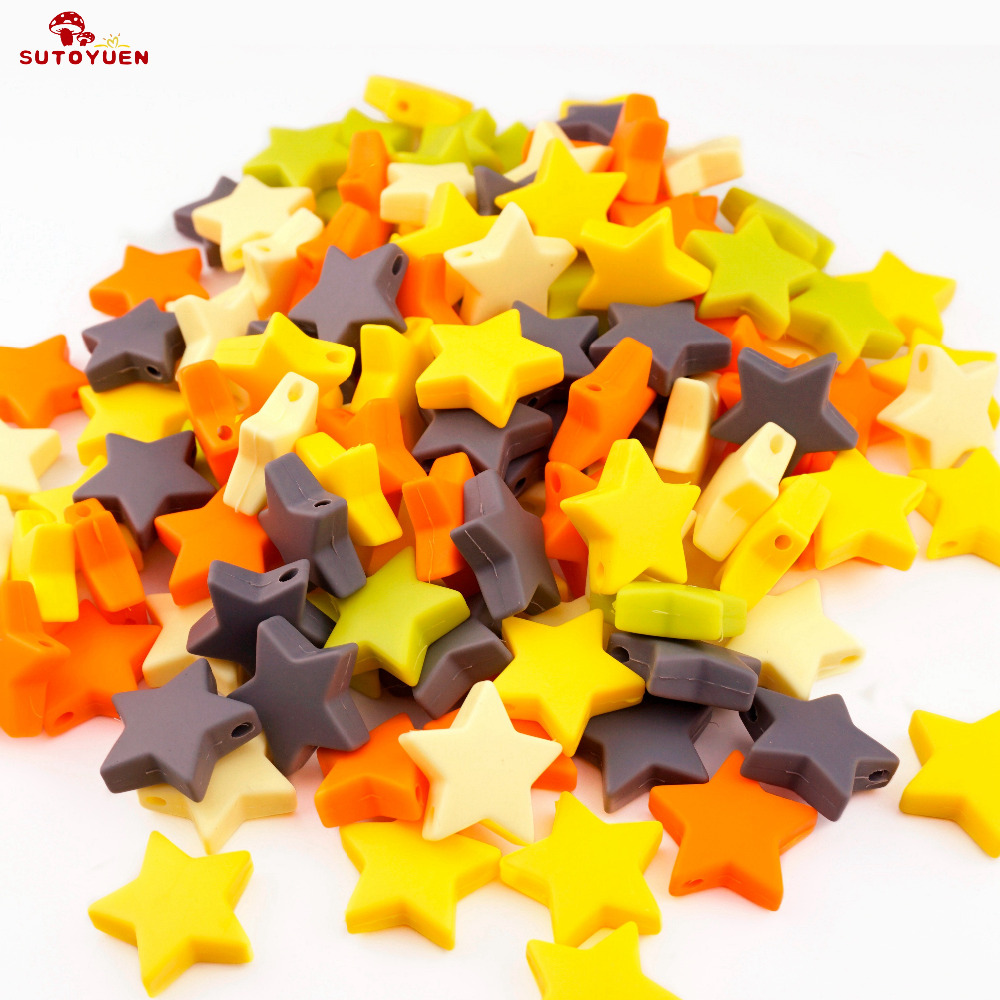 Sutoyuen 100pcs BPA Free Silicone Beads Star 25mm Baby Pacifier Nursing Teething Beads for DIY Chew Necklace Jewelry Accessories