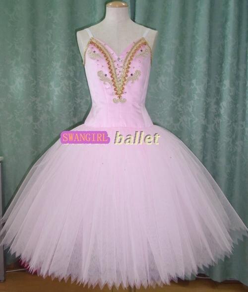 Розовый романтический балетное платье пачка профессиональные девушки персик Фея балетный костюм платье SB0060