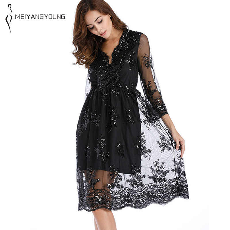 Summer 2019 women embroidery lace dress elegant mesh sequin dress casual  loose long sleeve vintage floral f76711af5bfe