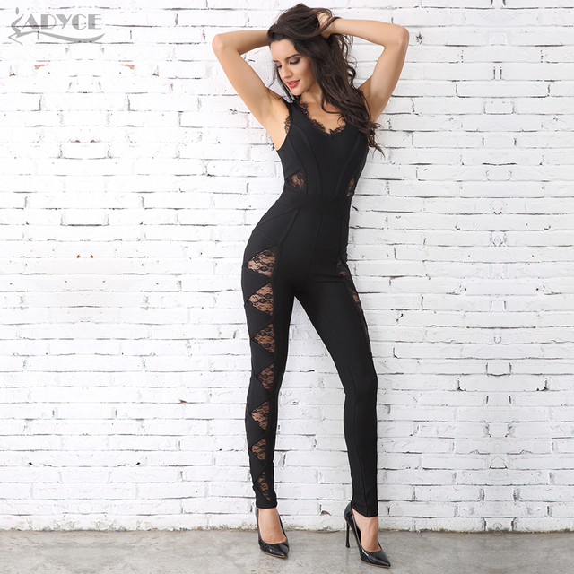 Adyce 2018 HOT SALE Women Long Rompers Black Lace O Neck Bandage Long Jumpsuit wholesale Celebrity Party Jumpsuits Clubwear 4