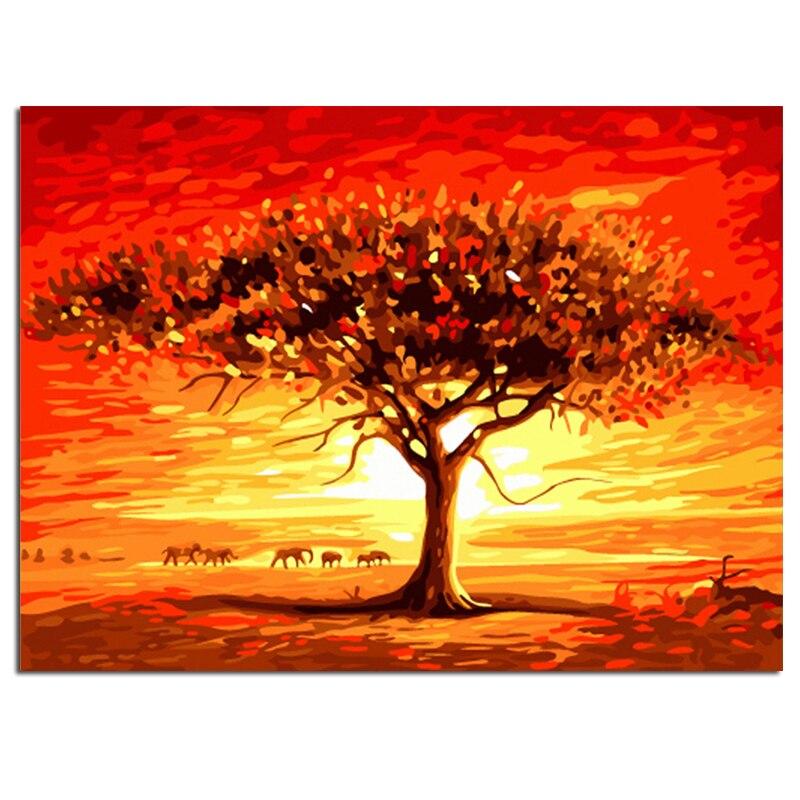 """""""foresta Pluviale Tropicale"""" Pittura Di Diy Dai Numeri Immagine Da Numeri Pittura A Olio Digitale Di Arte Della Parete Complementi Arredo Casa Immagine Fatti A Mano"""