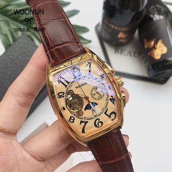 Wodoodporny zegarki mechaniczne mężczyźni luksusowe złota róża mężczyzna zegarka skrzyni ładunkowej automatyczne zegarki mechaniczne montre homme 2018 tanie i dobre opinie Mechaniczne Zegarki Na Rękę 22mm Odporny na wstrząsy Moon phase Odporne na wodę WOONUN 3Bar Hardlex G66577 45mm Moda casual