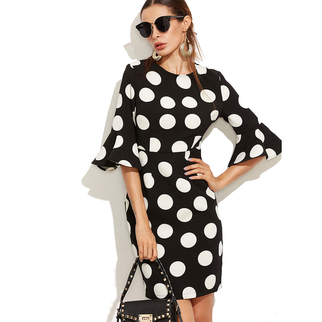 Big Polka Dots Print 1/2 Flare Sleeve Elegant Vintage Summer Womens Dress Above Knee Sexy Mini Office Work Sheath Pencil Dresses