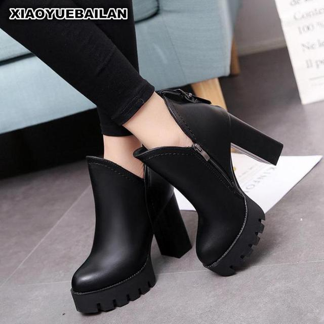 2017 Fashion High-heeled Martin Boots, Autumn Winter Side Zipper, Waterproof Platform, Coarse Heel Cotton Thin Women Boot