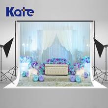 KATE Casamento Backdrops 10x10ft Fotografia Pano de Fundo Azul e Branco Da Flor Do Casamento Cortina de Fundos para Estúdio de Fotografia