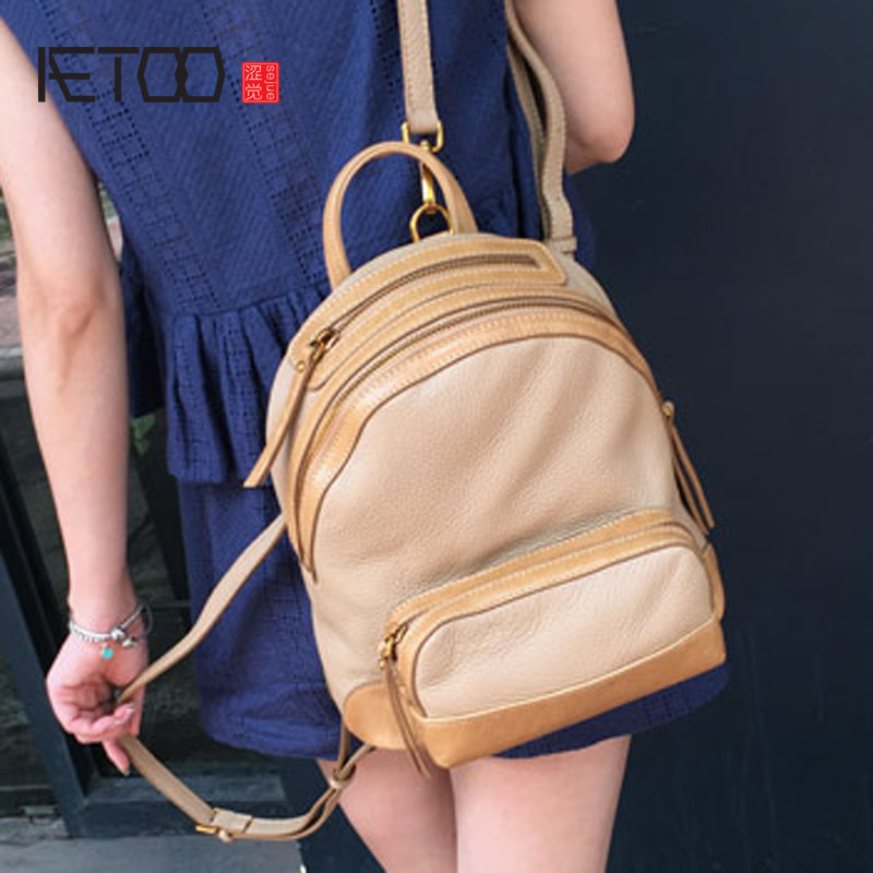 AETOO The new Korean version of the retro shoulder bag female leather fight color fashion first layer of leather small new korean version of the first layer of leather pillow bag large lychee pattern handbag shoulder messenger fashion leather leat