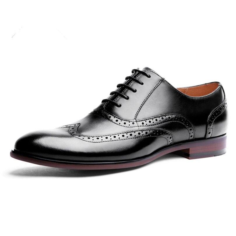Zapatos de vestir de boda de negocios de oficina hechos a mano marrón de lujo Formal de cuero genuino hombres zapatos tamaño 38 47 - 2